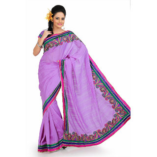 Purple bhagalpuri silk saree with unstitched blouse (and797)