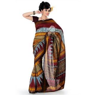 Multicolor bhagalpuri silk saree with unstitched blouse (als825)