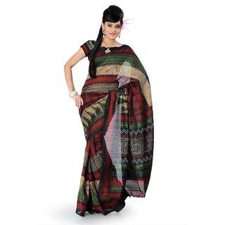 Multicolor bhagalpuri silk saree with unstitched blouse (als826)