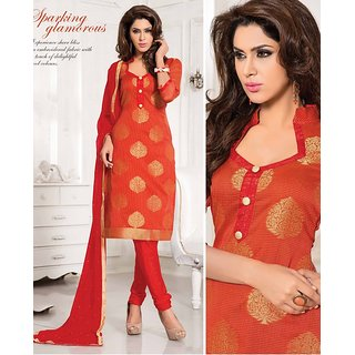 Riti Riwaz  Orange Designer Dress Material With Dupatta LOV4205