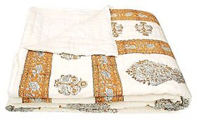 Bagru Crafts Traditional World Famous Golden Print Jaipuri Double Bed Cotton Razai / Quilt