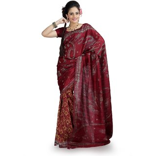 Maroon bhagalpuri silk saree with unstitched blouse (ang854)