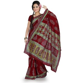 Maroon bhagalpuri silk saree with unstitched blouse (ang856)