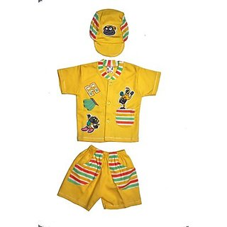 BelleGirl Cotton BabaSuit With Flap Cap Yellow 06M