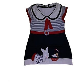BelleGirl Cotton Frock With TIE Pattern Blue 2.5-3Y
