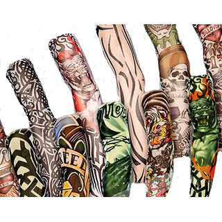 5 Pairs Wearable Tattoo Arm Sleeves Skin Cover For Sun Protection