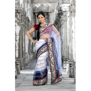 Bollywood style White and dark blue net saree with unstitched blouse (908)