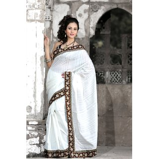 Designersareez White Silk Self Design Saree With Blouse