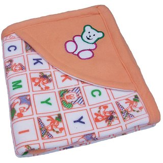 Garg Alphabetical Character Teddy Hooded Design Peach Baby Blanket