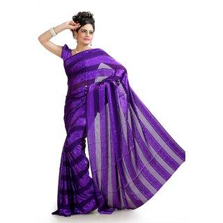 Purple chiffon jacquard saree with unstitched blouse (krs978)