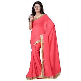 Bhuwal Fashion Peach Silk Plain Saree With Blouse