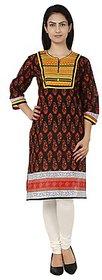 Yashasvi Cotton Printed Mandarin Collar 3/4 Sleeve Kurti CAYBBLK9004