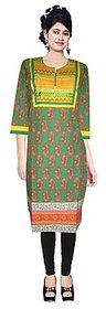 Yashasvi Cotton Printed Mandarin Collar 3/4 Sleeve Kurti CAYBGR9004