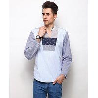 Yepme Varrel Stripes Kurta Shirt - White  Blue