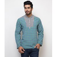 Yepme Norris Check Kurta Shirt - Green  Blue