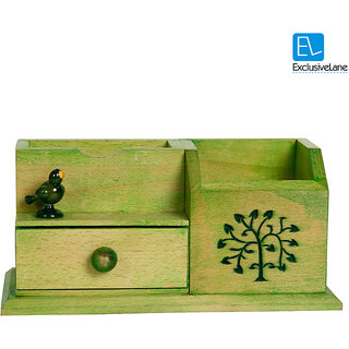 ExclusiveLane Wooden Multipurpose Table Organiser With Tree Carving & Parrot