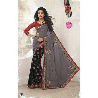 Indian new design pallu chiffon dyed body semi cotton jacquard SEFM511