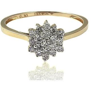 Diamond Ring In Solid BIS Hallmark 18KT Yellow Gold (LR 259-D)