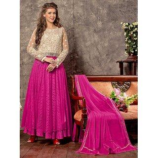Riti Riwaz Off White & Pink Designer semi stitched salwar suit PAR6007
