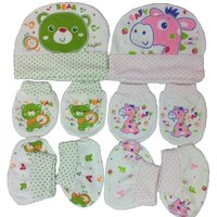Kerokid Music Bear  Pink Rafy  Mittens Booties Caps Baby Care Combo Set