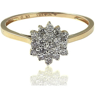 Diamond Ring In Solid BIS Hallmark 18KT Yellow Gold (LR 259-B)