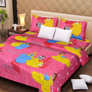 Designer Cotton Double Bed Sheet with 2 Pillow Covers - Princess