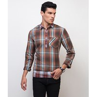 Yepme Mauritz Check Kurta Shirt - Brown