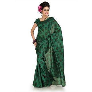 Green bhagalpuri silk saree with unstitched blouse (flk1012)