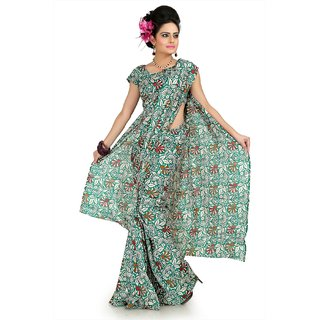 Teal green bhagalpuri silk saree with unstitched blouse (flk1020)
