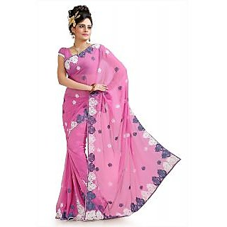 French pink chiffon saree with unstitched  blouse (pnm1027)