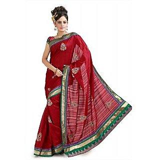 Dark red bhagalpuri silk saree with unstitched  blouse (pnm1042)