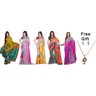 Florence Multicolor Faux Georgette Printed Saree With Blouse (Combo of 5)