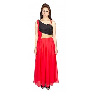 Sequenced Red Black Prom Dress