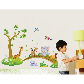 Asmi Collections Wall Stickers Wall Stickers Animals over the Bridge