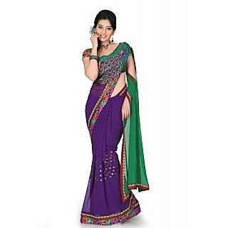Purple and green chiffon saree with unstitched blouse (myr1220)