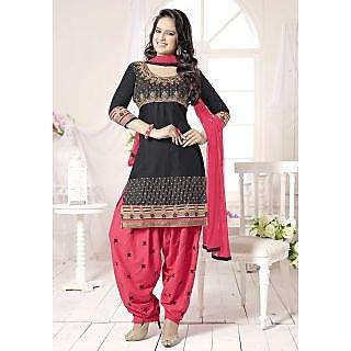 Riti Riwaz Black Patiyala  Dress Material with matching dupatta QNP9002