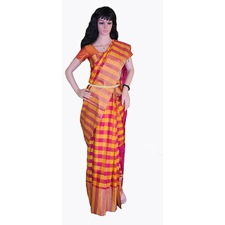 Dream Sarees Pink Linen Self Design Saree With Blouse