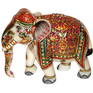 Bagru Crafts Handicraft & Home Decor Marble Meena Elephant with kundan work