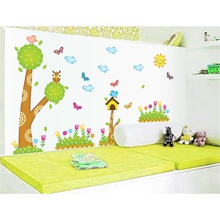 Asmi Collections Wall Stickers Tree And Butterfly For Kids Room AY9183