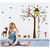 Asmi Collections Wall Stickers Tree House Monkey Owl For Kids Room DF5078