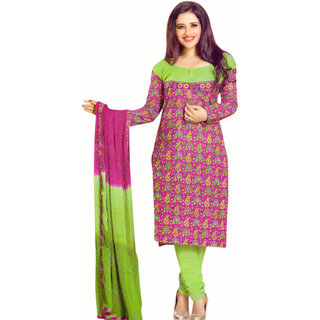 Women's Designer Cotton Suit Material Green And Pink (Unstitched)
