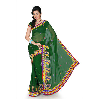 Deep green chiffon saree with unstitched blouse (cnc1190)