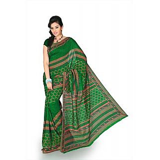 Deep Green bhagalpuri silk saree with unstitched blouse (mhk1261)