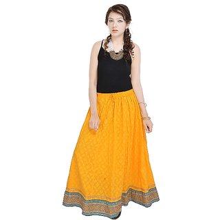 Rajasthani Ethnic Yellow Pure Cotton Skirt-595
