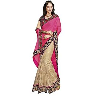 Triveni Multicolor Net Plain Saree With Blouse
