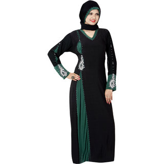 Triveni Trendy Black Colored Stone Worked Lycra Burka