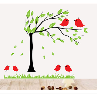 Asmi Collections Wall Stickers Beautiful Tree And Birds DM57