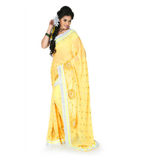 Designersareez Yellow Chiffon Self Design Saree With Blouse
