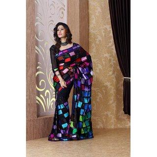 Black faux georgette saree with unstitched  blouse (bmc1310)
