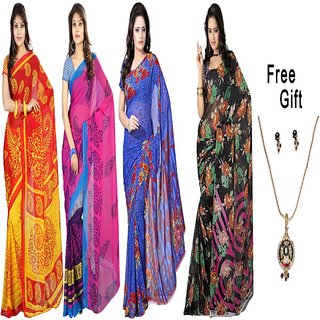Florence Multicolor Georgette Printed Saree With Blouse (Combo of 4)